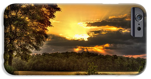 The Tiger iPhone Cases - Sunset on a Lake Oconee Golf Hole iPhone Case by Reid Callaway