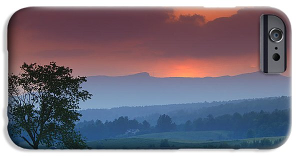 Mt iPhone Cases - Sunset over Mt. Mansfield in Stowe Vermont iPhone Case by Don Landwehrle