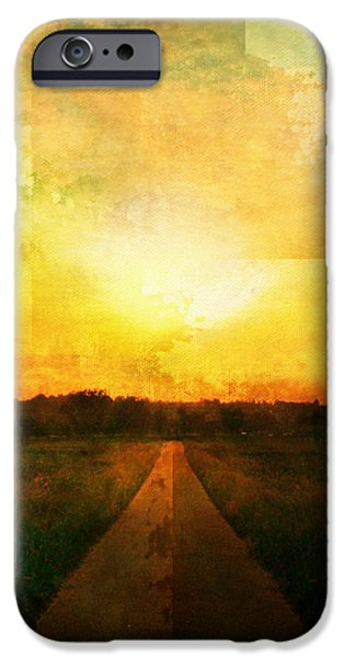 Epic Amazing Colors Landscape Digital Modern Still Life Trees Warm Natural Earth Organic Paint Chic Decor Interior Design Brett Pfister Art Digital Art Digital Art iPhone Cases - Sunset Road iPhone Case by Brett Pfister