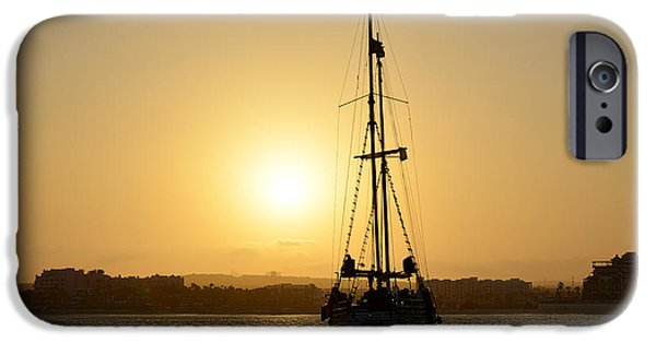 Pirate Ship iPhone Cases - Sunset Sailing in Cabo iPhone Case by Christine Till