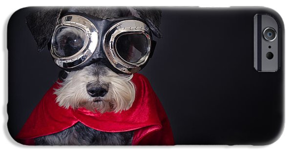 Cute Schnauzer iPhone Cases - Super Dog iPhone Case by Mesha Zelkovich