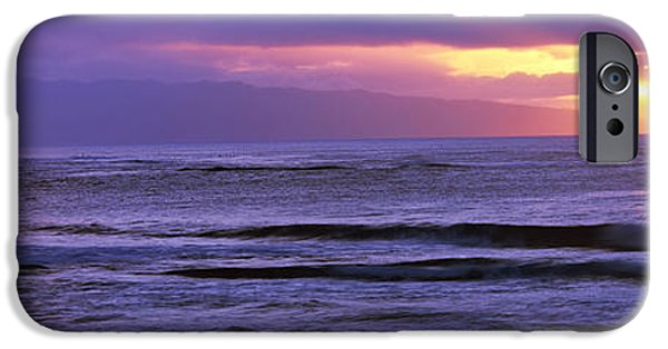 Ocean Sunset iPhone Cases - Surf In The Ocean At Sunset, Oahu iPhone Case by Panoramic Images