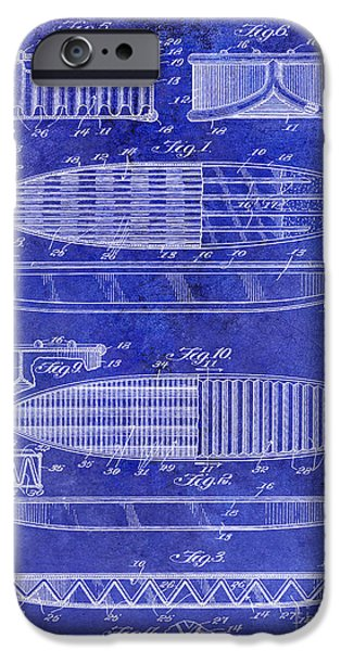 Surfboards iPhone Cases - Surfboard Patent Drawing 1950 Blue iPhone Case by Jon Neidert