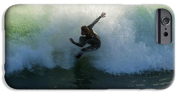 Surf Lifestyle Photographs iPhone Cases - Surfer Catching A Wave iPhone Case by Ben Welsh