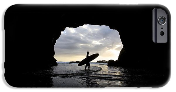 Water In Caves iPhone Cases - Surfer Inside A Cave At Muriwai New iPhone Case by Deddeda