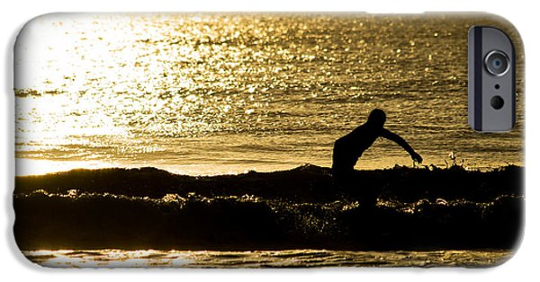 Explore Pyrography iPhone Cases - Surfer silhouette golden sunrise iPhone Case by Michael Bennett