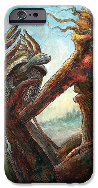 Creatures Paintings iPhone Cases - Surprise Encounter iPhone Case by Frank Robert Dixon