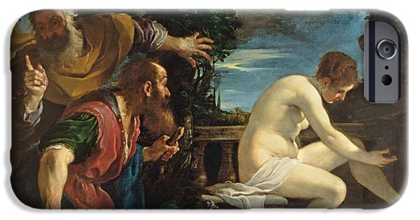 Bathing iPhone Cases - Susanna And The Elders iPhone Case by Guercino