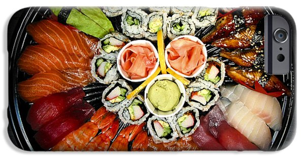 Tuna iPhone Cases - Sushi party tray iPhone Case by Elena Elisseeva