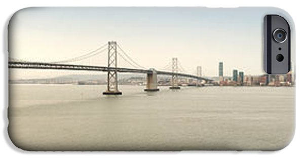 Bay Bridge iPhone Cases - Suspension Bridge Across A Bay, Bay iPhone Case by Panoramic Images