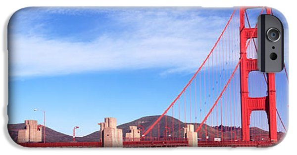 Connection iPhone Cases - Suspension Bridge Across A Bay, Golden iPhone Case by Panoramic Images