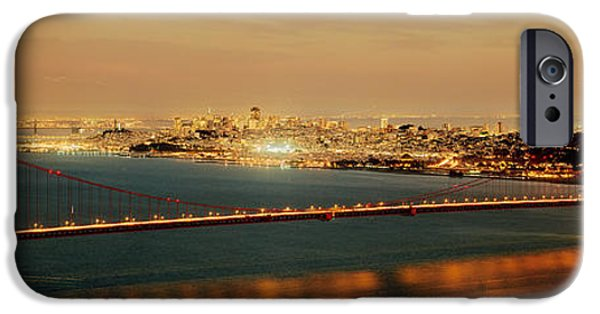 Bay Bridge iPhone Cases - Suspension Bridge Lit Up At Dusk iPhone Case by Panoramic Images