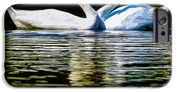 Bonding Digital Art iPhone Cases - Swan Heart iPhone Case by Brian Stevens