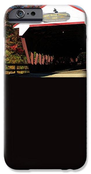 Covered Bridge iPhone Cases - Swift River Covered Bridge iPhone Case by Jeff Folger