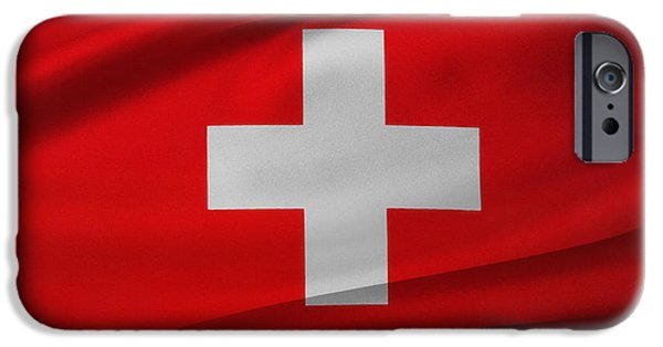 Swiss Photographs iPhone Cases - Swiss flag iPhone Case by Les Cunliffe