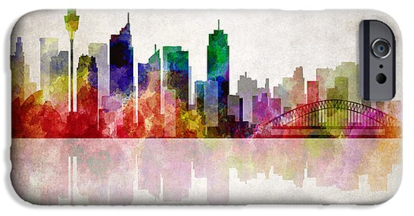 Koala Digital Art iPhone Cases - Sydney Australia Skyline iPhone Case by Daniel Hagerman