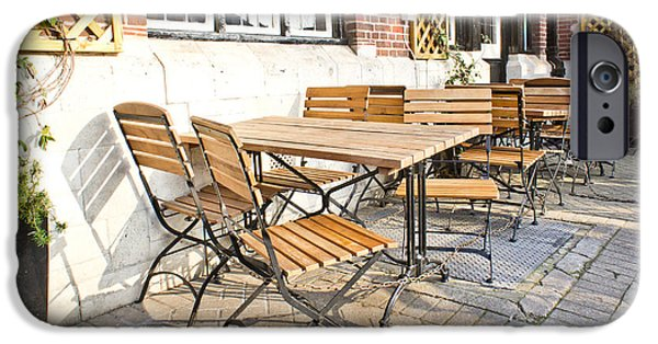 Ambiance iPhone Cases - Tables and chairs iPhone Case by Tom Gowanlock