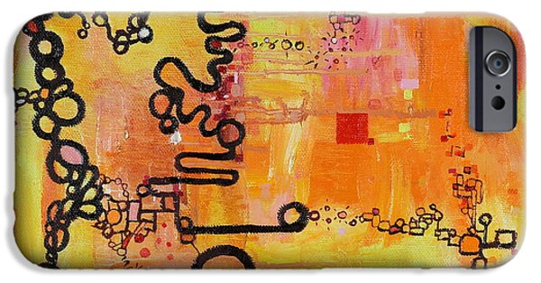 Diagram Paintings iPhone Cases - Tadpole Diagrams at Play iPhone Case by Regina Valluzzi