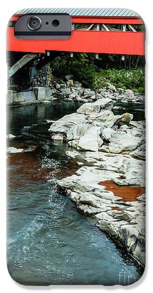 Taftsville Covered Bridge Vermont iPhone Case by Edward Fielding