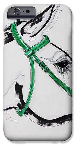 Kentucky Derby Drawings iPhone Cases - Take me for a run iPhone Case by Lillian Langford