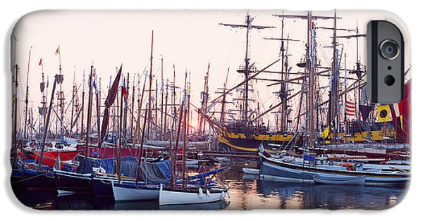 Tall Ship iPhone Cases - Tall Ship In Douarnenez Harbor iPhone Case by Panoramic Images
