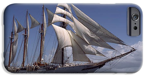 Sailing iPhone Cases - Tall Ship In The Sea, Puerto Rico iPhone Case by Panoramic Images