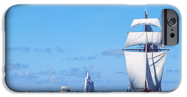 Regatta iPhone Cases - Tall Ship Regatta In The Baie De iPhone Case by Panoramic Images
