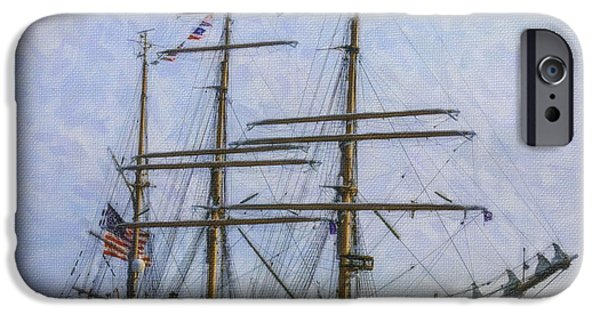 Tall Ship Mixed Media iPhone Cases - Tall Ship Barque Eagle  iPhone Case by Dale Powell