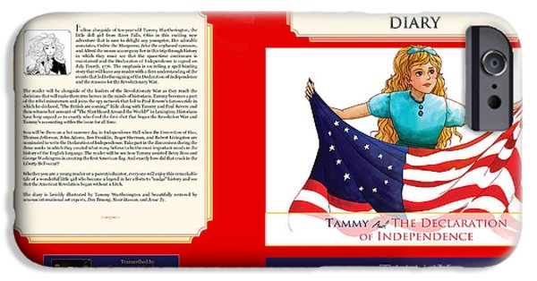 Fourth Of July Paintings iPhone Cases - Tammy and the Declaration of Independence iPhone Case by Reynold Jay