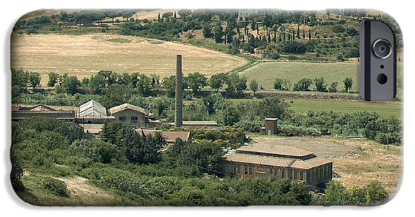 Agricultural iPhone Cases - Tarquinia agricultural landscape with former industry iPhone Case by Giuseppe Cocco