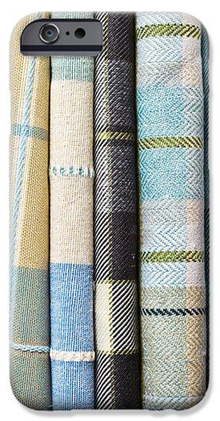 Sheets iPhone Cases - Tartan fabrics iPhone Case by Tom Gowanlock