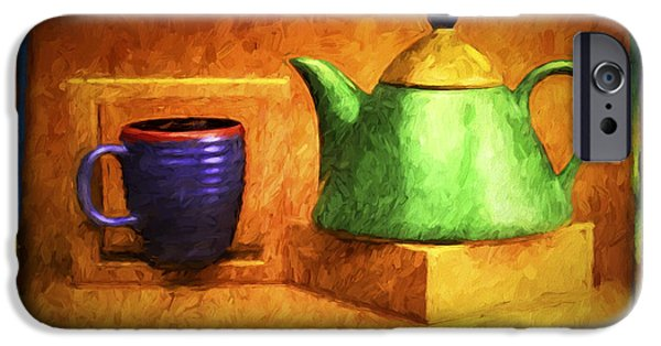Abstract Digital Pyrography iPhone Cases - Tea Pot iPhone Case by Mauro Celotti