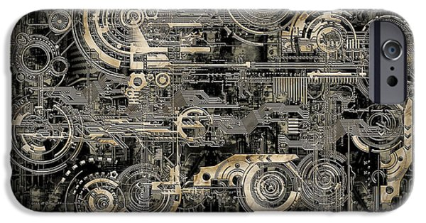 Mainboard iPhone Cases - Technically electronic background iPhone Case by Diuno Ashlee