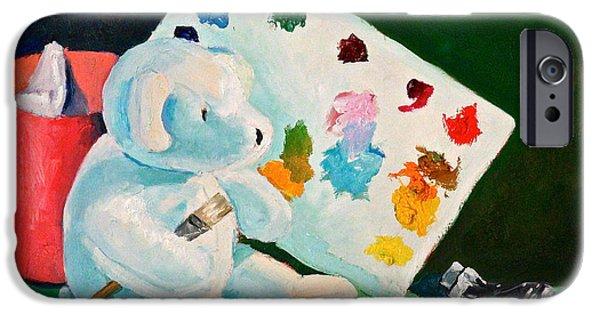 Trash Sculptures iPhone Cases - Teddy Behr the Painter #3 iPhone Case by Dan Redmon
