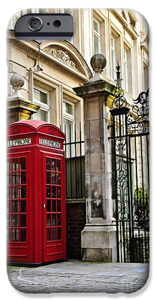 Britain iPhone Cases - Telephone box in London iPhone Case by Elena Elisseeva