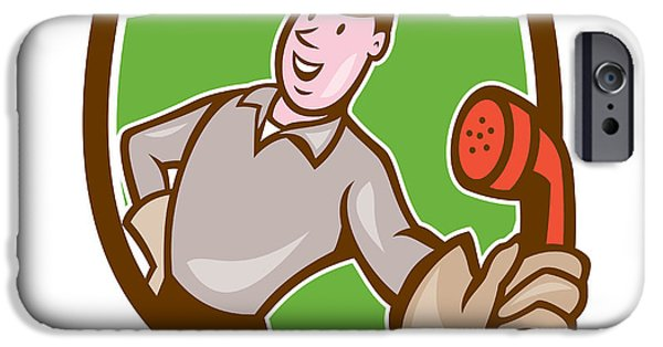 Telephone Repairman iPhone Cases - Telephone Repairman Phone Shield Cartoon  iPhone Case by Aloysius Patrimonio