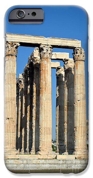 Temple of Olympian Zeus and Acropolis in Athens iPhone Case by George Atsametakis