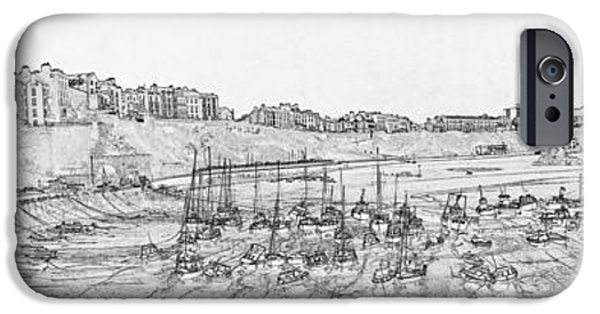 Sand Castles iPhone Cases - Tenby Harbor Panorama iPhone Case by Steve Purnell