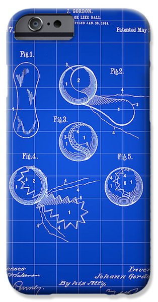 Federer iPhone Cases - Tennis Ball Patent 1914 - Blue iPhone Case by Stephen Younts