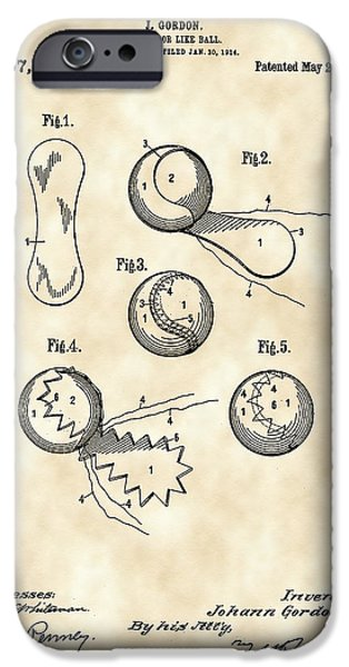 Federer iPhone Cases - Tennis Ball Patent 1914 - Vintage iPhone Case by Stephen Younts