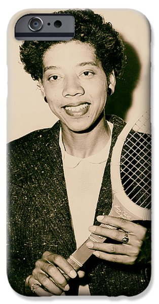 Althea iPhone Cases - Tennis Great Althea Gibson 1956 iPhone Case by Mountain Dreams