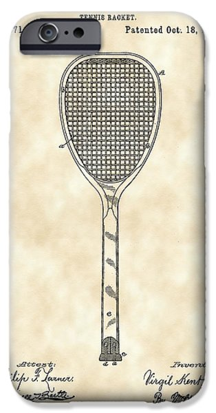 Federer iPhone Cases - Tennis Racket Patent 1887 - Vintage iPhone Case by Stephen Younts