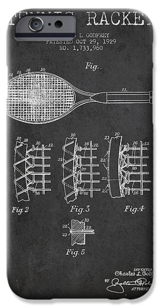 Tennis Ball iPhone Cases - Tennnis Racket Patent Drawing from 1929 iPhone Case by Aged Pixel