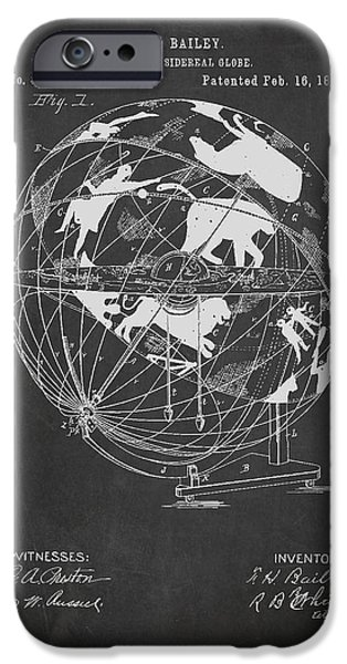 Earth Map Digital iPhone Cases - Terrestro Sidereal Globe Patent Drawing From 1886 iPhone Case by Aged Pixel