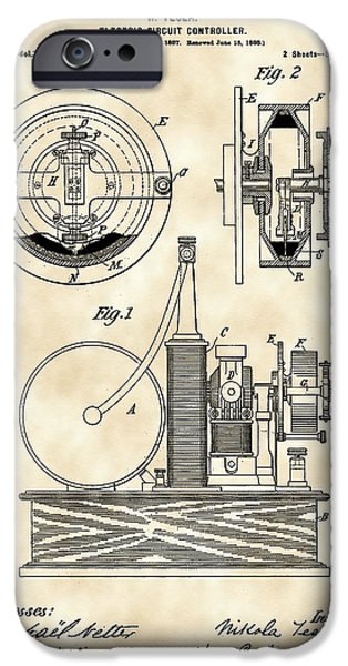 Capacitors iPhone Cases - Tesla Electric Circuit Controller Patent 1897 - Vintage iPhone Case by Stephen Younts