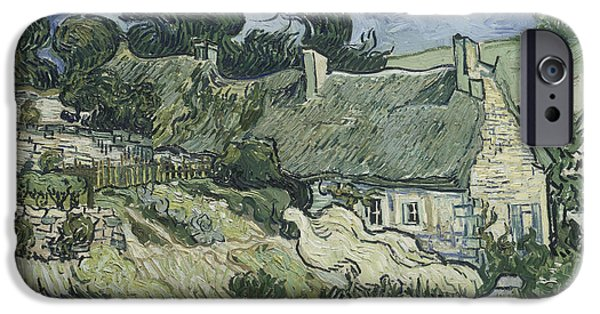 Cemetery Paintings iPhone Cases - Thatched Cottages at Cordeville iPhone Case by Vincent van Gogh