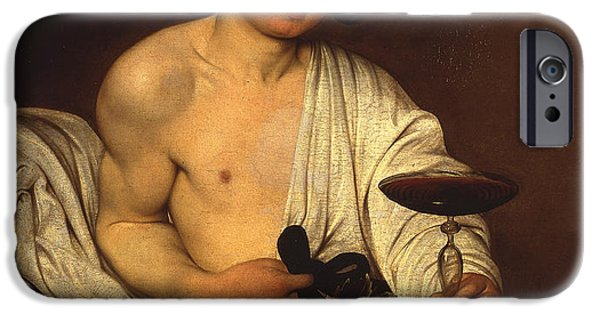 Caravaggio Paintings iPhone Cases - The adolescent Bacchus iPhone Case by Caravaggio