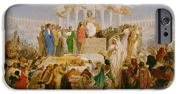 Allegory iPhone Cases - The Age of Augustus the Birth of Christ iPhone Case by Jean Leon Gerome