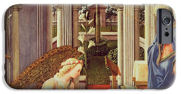 Annunciation iPhone Cases - The Annunciation iPhone Case by Fra Filippo Lippi