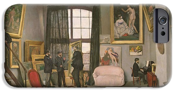 Working Artist iPhone Cases - The Artists Studio iPhone Case by Jean Frederic Bazille